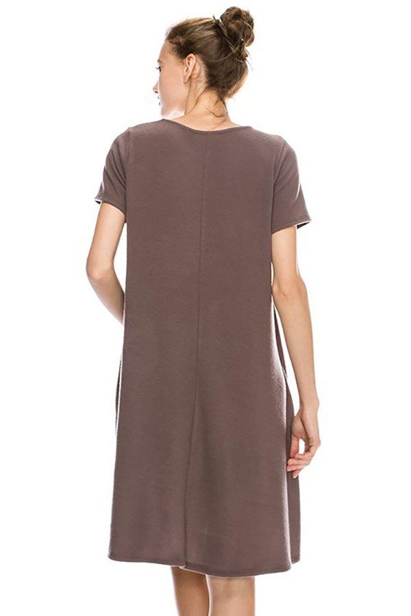 Solid Swing Short Sleeve Dress