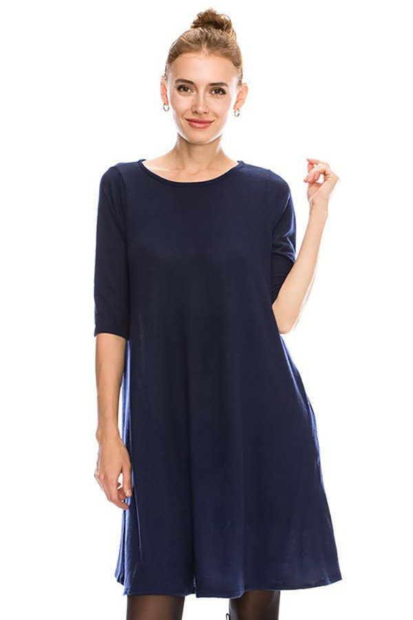Solid Swing 1/2 Sleeve Dress