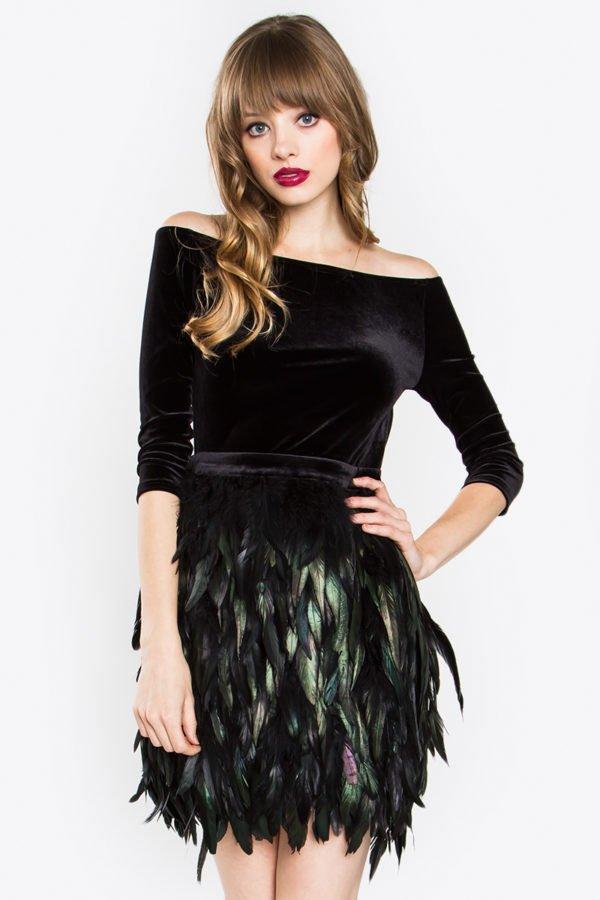 Emerald Feather Dress