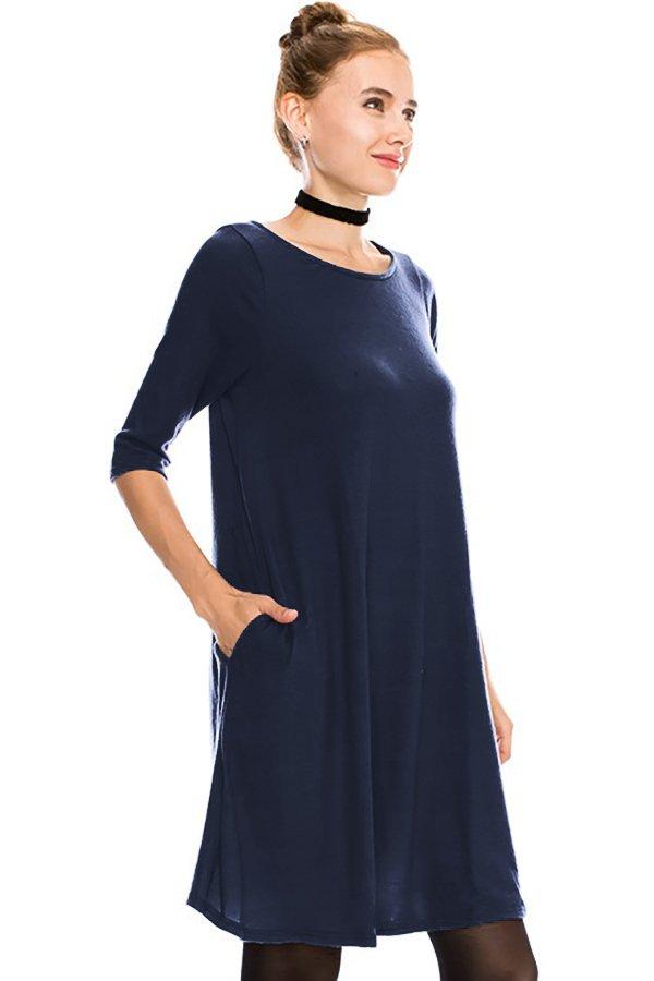 Solid Swing 1/2 Sleeve Dress