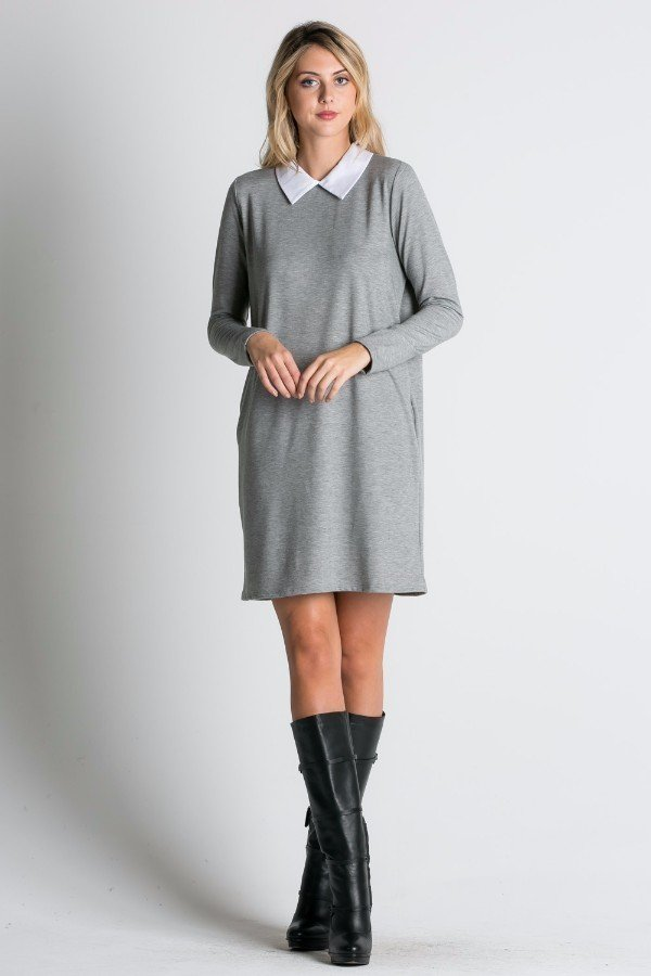 Collared Loose Fit Mini Dress