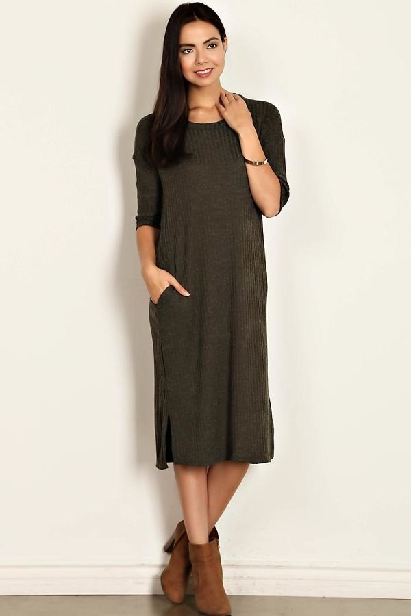Solid Ribbed Scoop Neck Dress