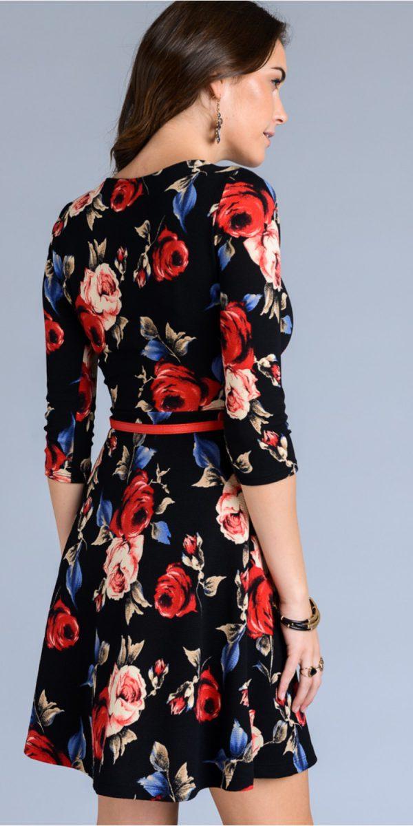 3/4 sleeve floral print dress with mini belt