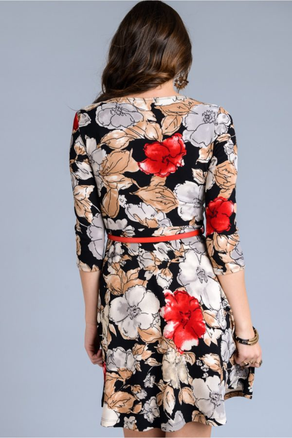 3/4 sleeve floral print dress with mini belt