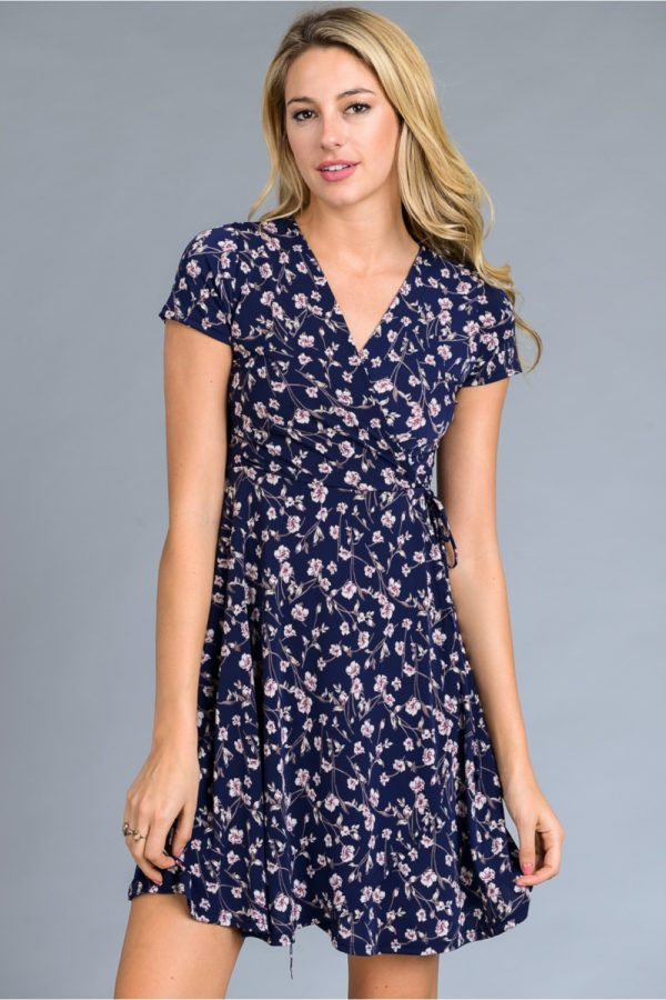 Short sleeve faux wrap floral print short dress