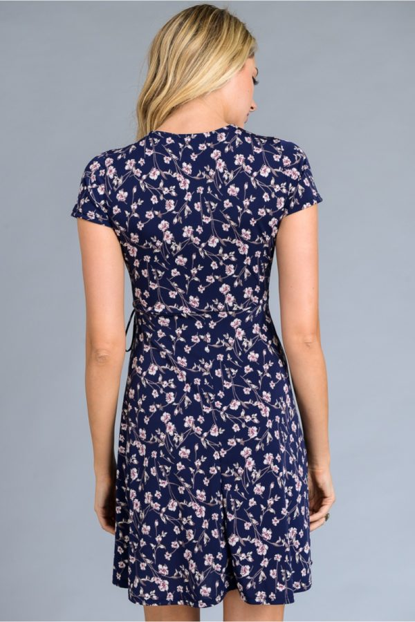Short sleeve faux wrap floral print dress