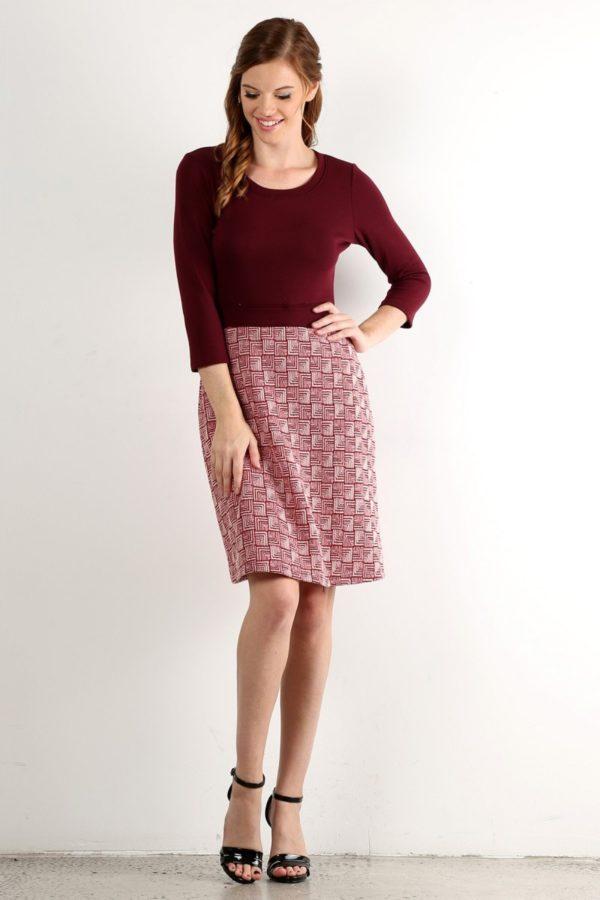Print, 3/4 Sleeve A-Line Dress