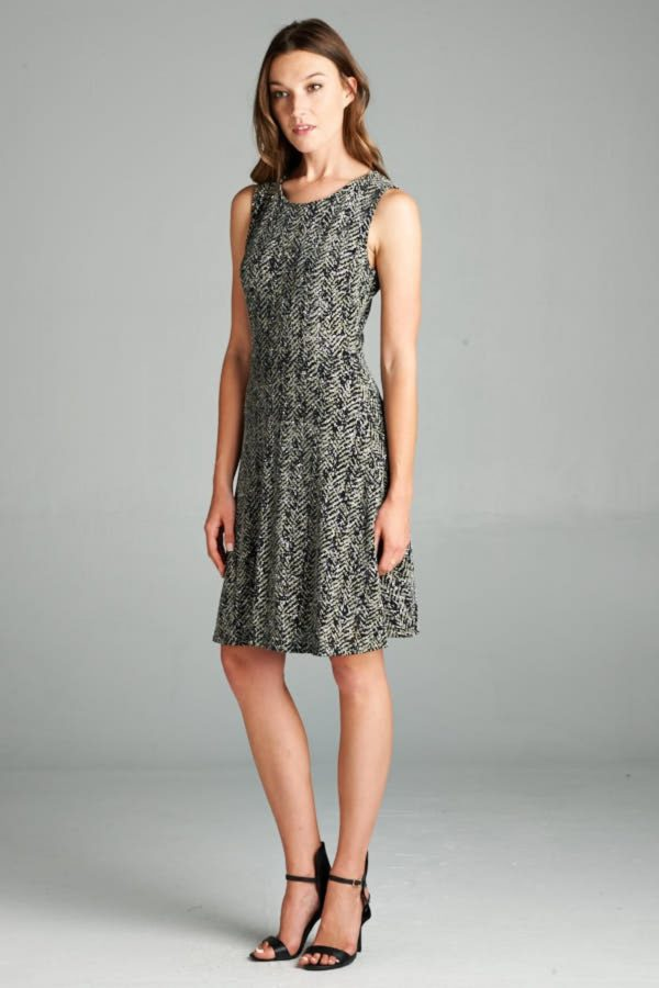 Metallic, Chevron, Jacquard Knit A-Line Dress