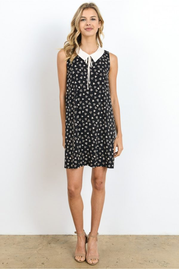 Tie-Neck Collar Heart Dress