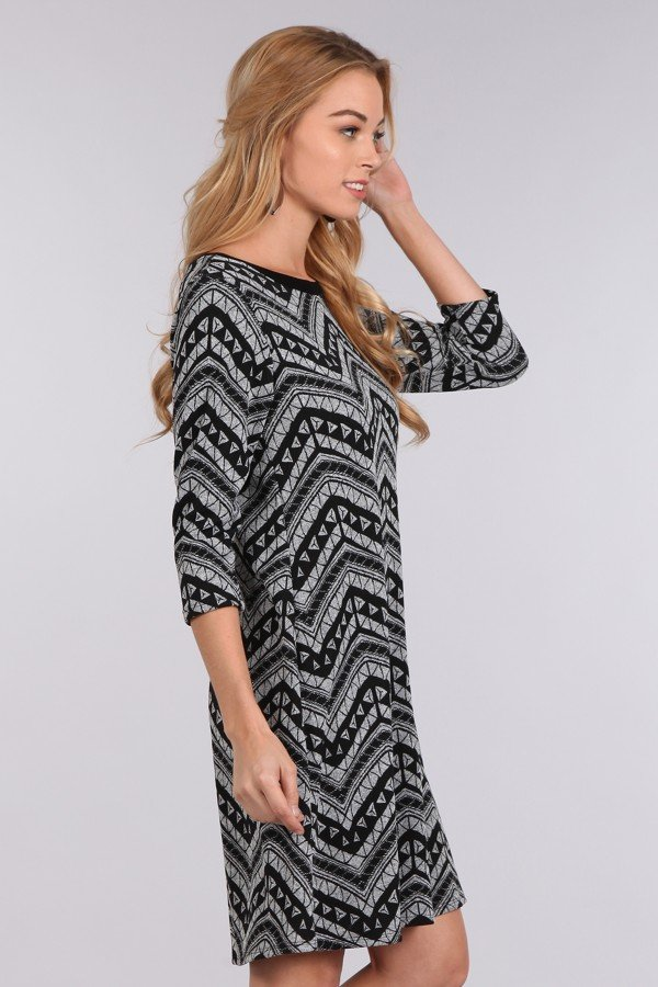 Patterned Chevron Printed A-line Dress