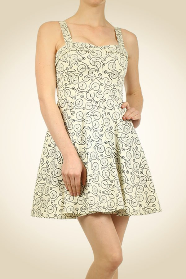 Retro A-Line Bicycle Dress - Lazy Caturday - Fun and Unique