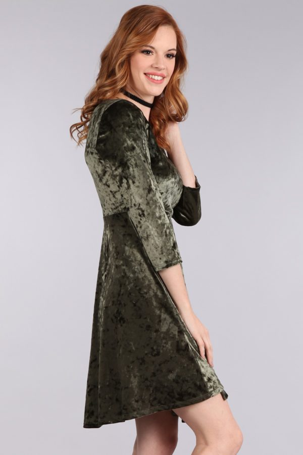 Textured Velvet 3/4 Sleeve Dress