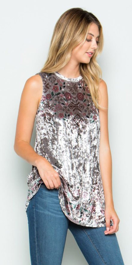 Crushed Velvet Sublimation Tank - Grey