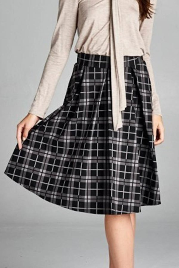 Black Bookish Plaid Skirt
