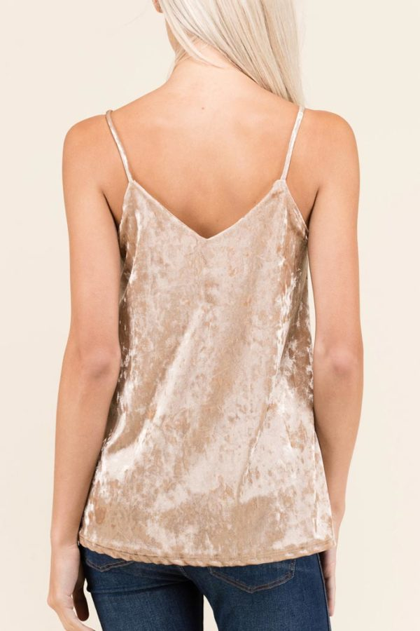 Velour Camisole Knit Top - Champagne