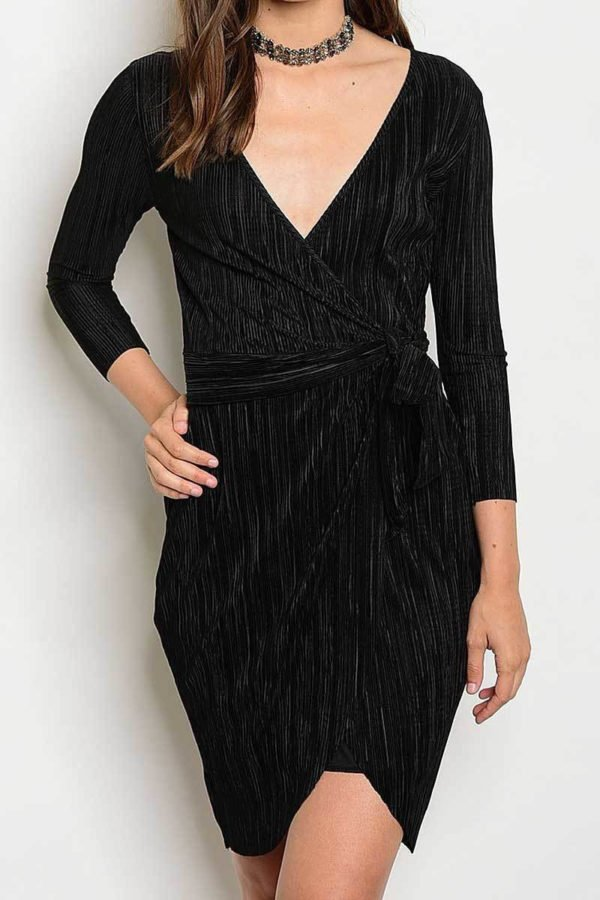 Vampy Black Wrap Dress