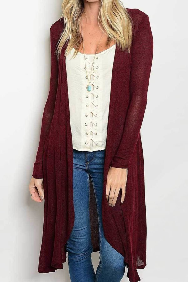 Royal Burgundy Long Body Cardigan
