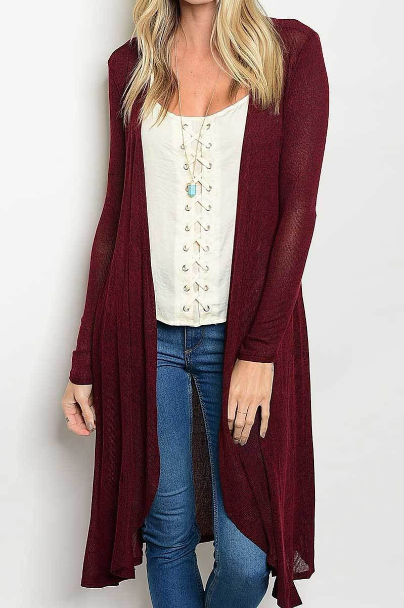 Royal Burgundy Long Body Cardigan - Lazy Caturday - Made in the USA