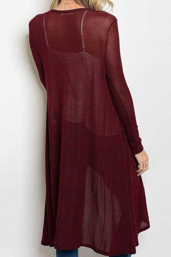 Royal Burgundy Long Body Cardigan