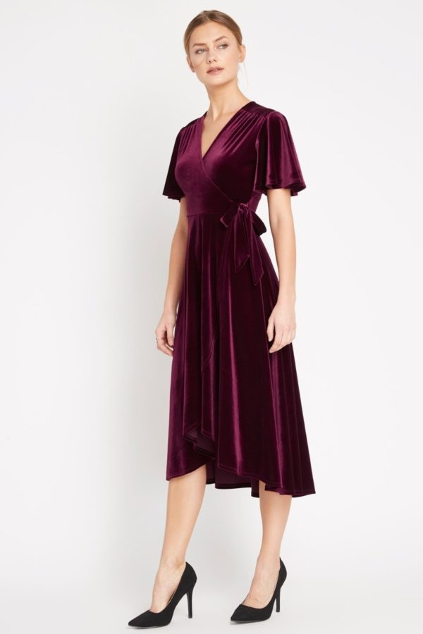 Ruby Red Velvet Midi Wrap Dress