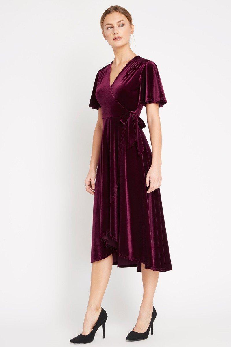 fd39f602667c Ruby Red Velvet Midi Wrap Dress - Lazy Caturday - Fun and Unique