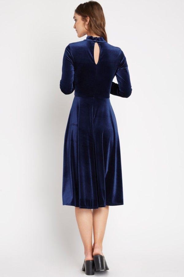 Plush Navy Velvet Midi Dress