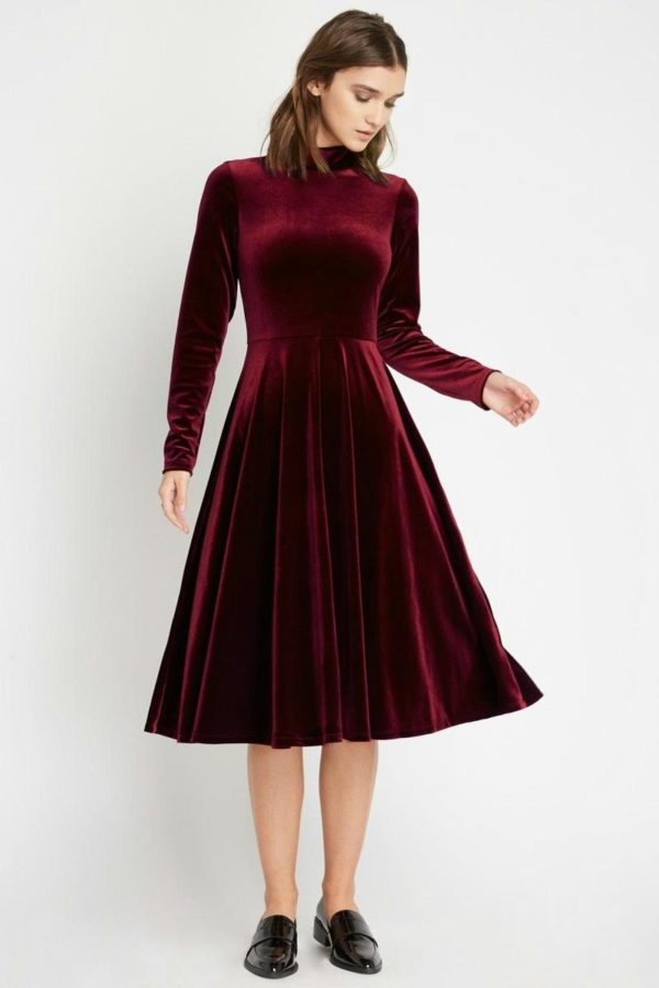 Ruby Red Velvet Midi Dress