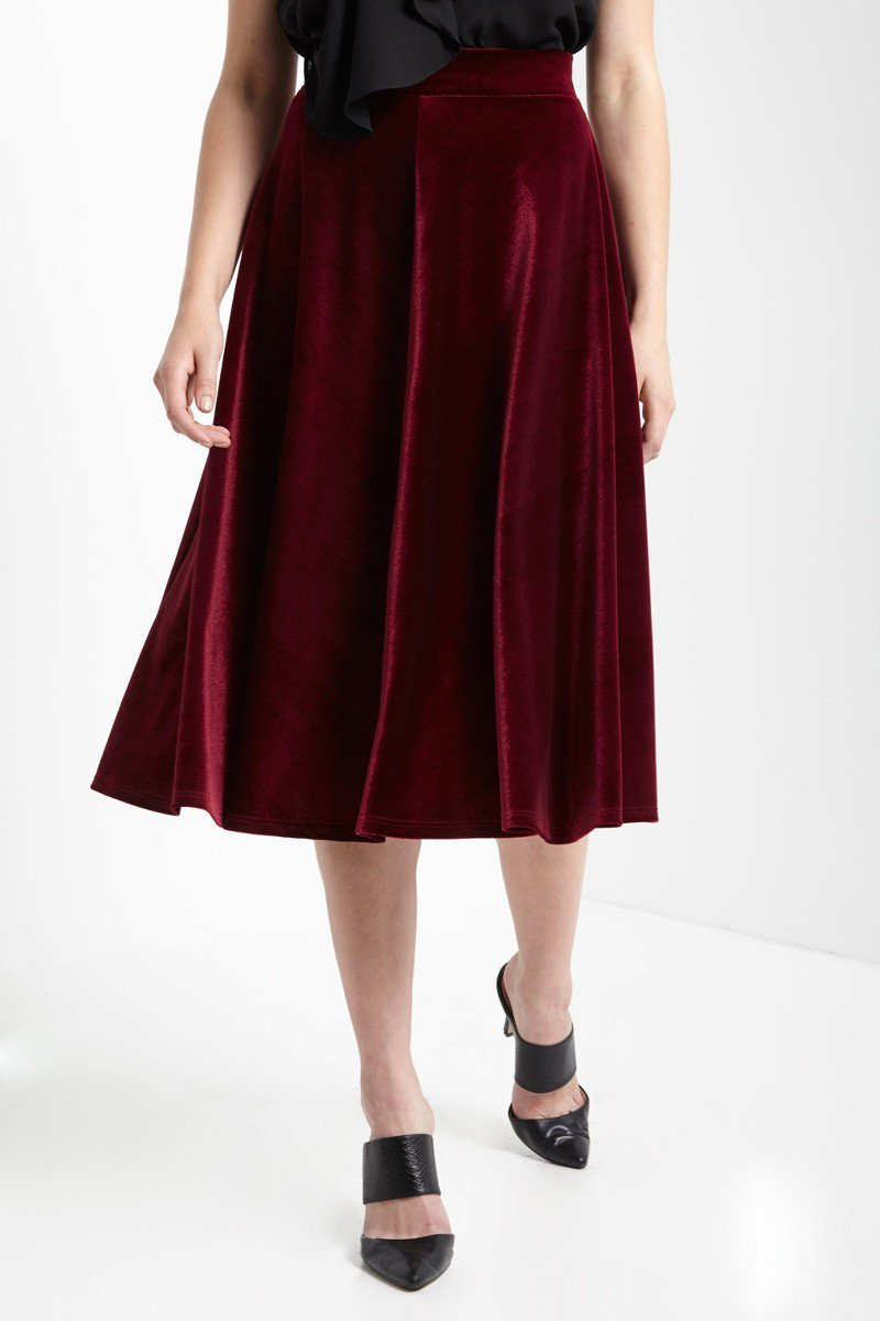 0f157a0e5dcc Ruby Red Velvet Midi Skirt - Lazy Caturday - Fun and Unique