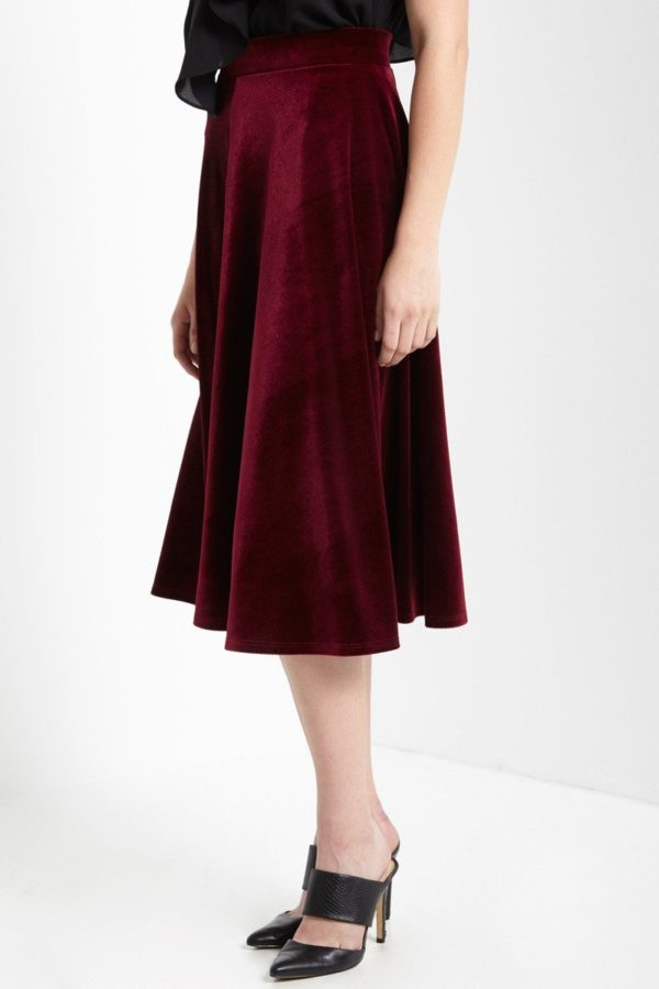 Ruby Red Velvet Midi Skirt