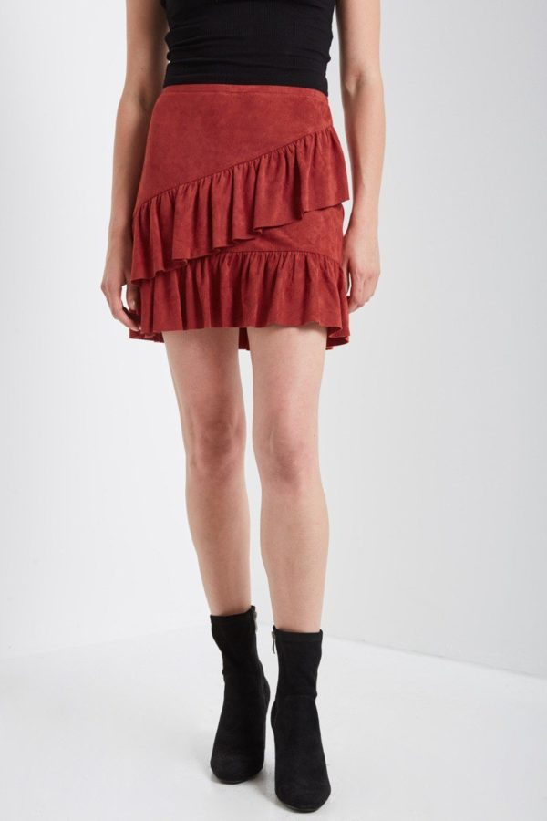 Rusted Ruffle Mini Skirt