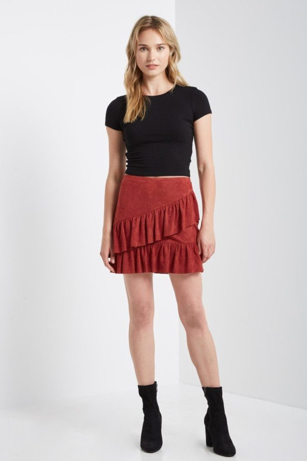 Rusted Ruffle Mini Skirt