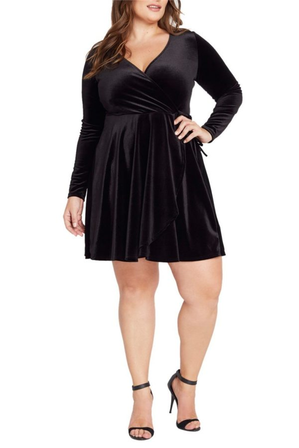 Black Faux Wrap Velvet Dress Plus