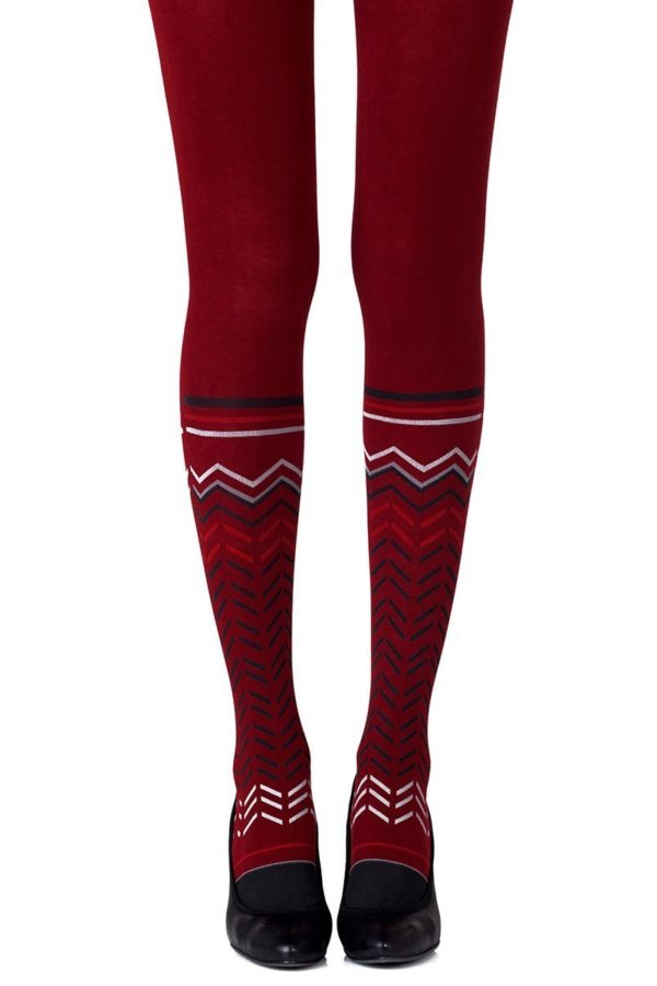 Cute Tights - Zig Zag Walk Burgundy Tights