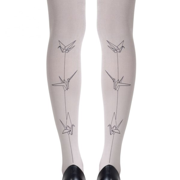 Cute Tights - Paper Cranes Light Grey Tights
