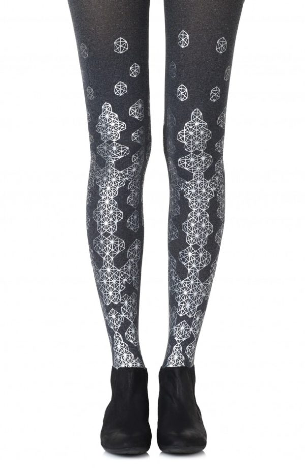 Cute Tights - Queen Bee Heather Grey Tights Silver Print