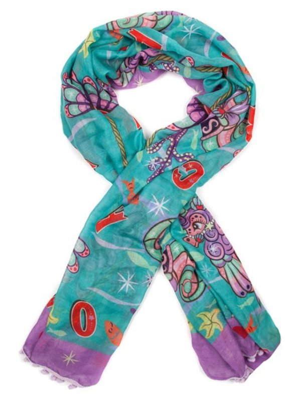 Pom Pom Parade Scarf - Turquoise by Irregular Choice