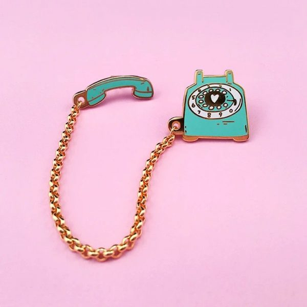 Rotary Dial Telephone Pin - Mint